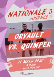 Annulé – RENCONTRE N3 JOURNÉE 9 : ORVAULT VS. Quimper