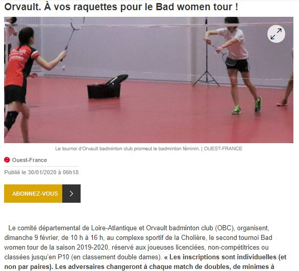 article bad women tour tournoi femmes feminin