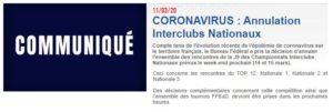 Read more about the article Annulation des rencontres de N3 du 14 & 15 mars