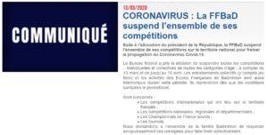 Read more about the article COVID19 : suspension de l'ensemble des entraînements, stages, compétitions et jeu libre