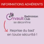 information adhérents reprise badminton orvault OBC
