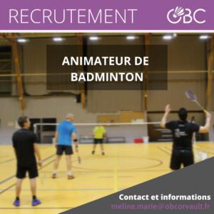 Read more about the article Recrutement – Animateur de Badminton